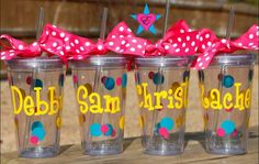 Cups- Personalized Tumbler Cups with Straw-Initials Cups