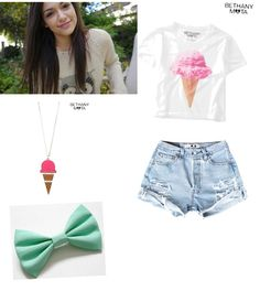 Bethany mota inspired outfit<< OMG I HAVE ICE CREAM EARRINGS THAT WOULD GO PERFECT WITH THIS OUT FIT!!!!!!!!!!!!!!!!!!