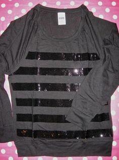 New Victoria Secret Pink Black Stripe Bling Sequin Long Sleeve T Shirt Tee Small | eBay