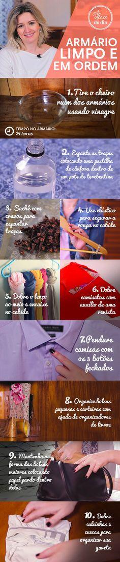 Tire o cheiro ruim dos armários, tire traças do armário, elásticos para segurar a roupa no cabide, como dobrar o lenço, como dobrar camisetas com revista, pendure camisas, como organizar bolsas e carteiras, organize suas bolsas, como dobrar calcinhas e cuecas
