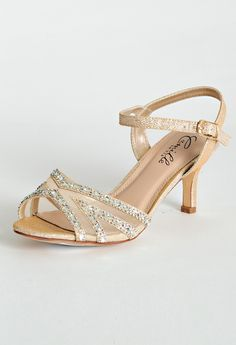 Mesh And Stone Low Heel Sandal SandalsLow HeelsRhinestone SandalsBridesmaid ShoesGold