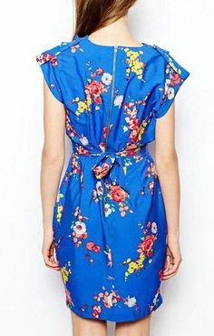 Blue V-neck Short Sleeves Chiffon Floral Dress