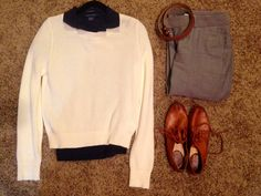Fall Work: Banana Republic cream sweater, Ralph Lauren Navy Polo, Banana Republic grey pants, Express camel belt, Frye whiskey oxfords