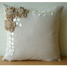thehomecentric - Designer Ecru Throw Pillows Cover For Couch, Jute Flowers Mother Of Pearls Floral Theme Pillows Cover Square Cotton - Jute Blooms Diy Pillows, Linen Pillows, Sofa Pillows, Decorative Throw Pillows, Couch, Linen Fabric, Accent Pillows, Bed Cover Design, Cushion Cover Designs