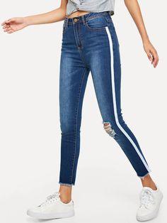 New Ladies//Girls/' Side Stripe Pearl Popper Style Skinny Denim Jeans SALE NOW £12
