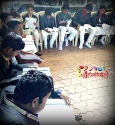 """Students of Central Provincial School attending the script-reading session at Nautankiwale's performance-oriented theatre workshop for upcoming Hindi play """"Bachate Raho!""""."""