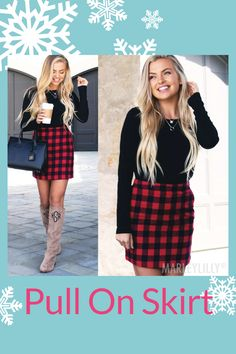 Create a classy and trendy look for fall in this cute skirt featuring a flattering pull on waist with a cute-as-can-be silhouette. Available in leopard, pumpkin plaid and buffalo plaid, this trendy skirt features an elastic waist band in the back and hidden side zipper. To complete your look, pair this skirt with a monogrammed top!