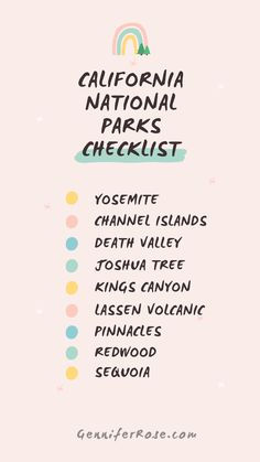 California has 9 national parks which is the most of any state. For all the nature lovers with bucket lists, I've created a free California national parks printable checklist that you can download. #california #yosemite #channelislands #deathvalley #joshuatree #kingscanyon #lassenvolcanicpark #pinnaclesnationalpark #sequoianationalpark #redwoodsnationalpark #californianationalparks #nationalparks California National Parks, California Vacation, National Parks Usa, California Dreamin', National Park Camping, Sequoia National Park, Travel Usa, Travel Tips, Travel Destinations