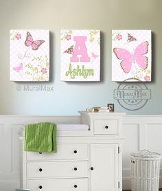 Butterfly Canvas Wall Art  Butterfly Nursery Art  by MuralMAX