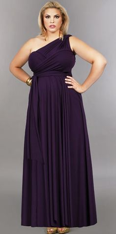 'Marilyn' Long Convertible Dress - Purple by Monif C.(the different types of wraps for each bridesmaid) Bridesmaid Dresses Plus Size, Wedding Bridesmaid Dresses, Plus Size Dresses, Plus Size Outfits, Dress Wedding, Maid Of Honour Dresses, Plus Size Kleidung, Convertible Dress, Infinity Dress
