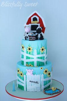 Blissfully Sweet: A Farm Themed 1st Birthday Cake