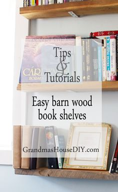 Easy do it yourself diy inexpensive cheap frugal barn wood book shelves with hidden hardware wood working
