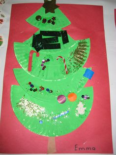 Paper plate Christmas tree craft for Kindergarten.