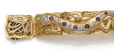 An art nouveau sapphire, diamond and gold bracelet, Rikers,