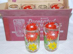 1950'S Mint Hazel Atlas Glass Floral RED Yellow Enamel Tumblers Never Used SET 8 | eBay I have a set of these I got that I have been using, they are going into the glass cabinet!
