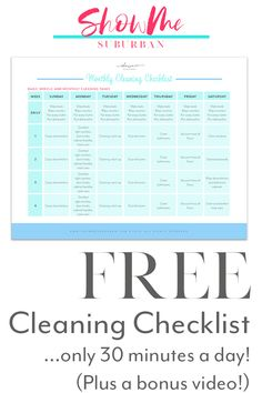 Finally keep your house clean (even if you only have 30 minutes a day! Struggling to keep your house clean? The Monthly Cleaning Checklist is your plan to keep your whole Weekly Cleaning Checklist, Cleaning Schedules, Organized Entryway, Organized Bedroom, Organized Kitchen, Chore Chart Kids, Chore Charts, Paper Organization, Organizing