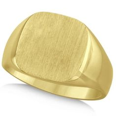 Men's Square Engraved Monogram Signet Ring 14k Yellow Gold, Size: 5.25