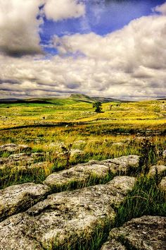 """Limestone Landscape ~ Yorkshire    The flat topped """"peak"""" is Pen-y- Ghent., one of Yorkshire's """"Three Peaks""""."""