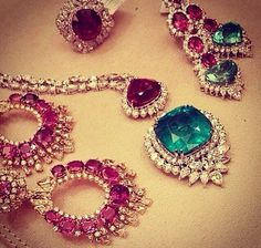 THE RUBY AND DIAMOND EARINGS ARE BEAUTIFUL