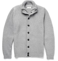 John Smedley Suede Elbow Patch Merino Wool and Cashmere-Blend Cardigan