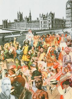 Buy- World Tour, London, Multi-Ethnic Crowd- signed limited editions silkscreen print by Sir Peter Blake from CCA Galleries Peter Blake, Royal College Of Art, Gcse Art, High Art, Collage Art, Collages, London Art, Map Art, Art Sketchbook