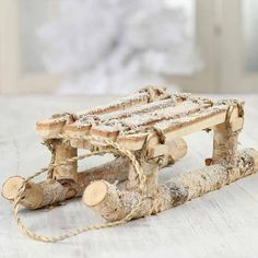 Rustic Snowy Natural Birch Sled - Table Decor - Christmas and Winter - Holiday Crafts Sisal Rope, Christmas Decorations, Table Decorations, Wood Slices, Sled, Winter Holidays, Pine Cones, Holiday Crafts, Birch