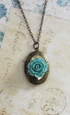 Oval Locket Necklace Antique Gold Brass Blue