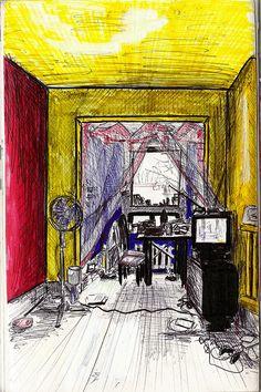 Salon, intérieur d'un appartement à Montréal, Canada - Dessin L'Oeil d'Édouard © tous droits réservés