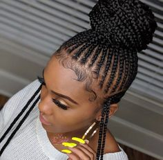 Ghana Weaving Wig / Braided Wig / Braids / Wig for Women / Shuku Wig - Best Cornrow Hairstyles Braided Ponytail Hairstyles, Braided Hairstyles For Black Women, African Braids Hairstyles, Girl Hairstyles, Teenage Hairstyles, Hairstyles 2018, Modern Hairstyles, African Hair Braiding, Lemonade Braids Hairstyles