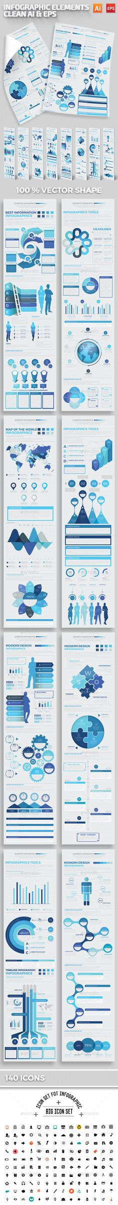 Blue Infographics Elements Template Vector EPS, AI Illustrator