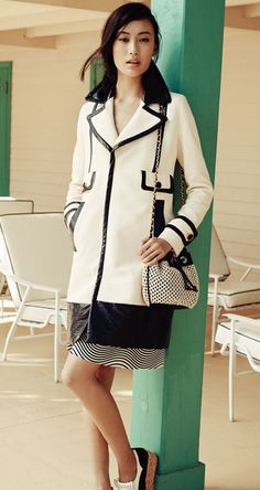 Modern Maritime: Ivory & Navy Tory Burch S/S'12. Love the graphic pattern on pattern.