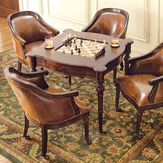 game table and chairs game room table and chairs new with picture of game room minimalist new in design freeman game table and two leather chairs Game Table And Chairs, Game Room Chairs, Game Room Tables, Game Room Furniture, Game Room Decor, Table Games, Living Room Chairs, Club Chairs, White Desk Chair