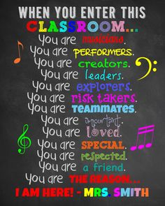 When You Enter This Classroom Rules. Teacher Appreciation Gift for Teacher. Art Classroom Decor, Classroom Rules Poster, Classroom Signs, Music Classroom, Classroom Ideas, Future Classroom, Classroom Displays, Classroom Activities, Teacher Appreciation