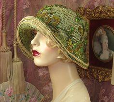 1920's Vintage Style Gatsby Green Sequin Beaded Flower Cloche Flapper Hat | eBay