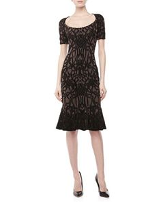 Short-Sleeve Jacquard Fluted Dress, Black/Maude by Zac Posen at Neiman Marcus.