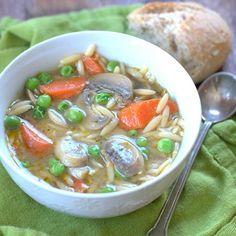 20 Minute Vegetable Orzo Pesto Soup - Connoisseurus Veg