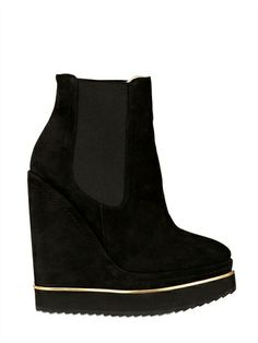 PALOMA BARCELO' - 140MM SUEDE BOOT WEDGES - LUISAVIAROMA - LUXURY SHOPPING WORLDWIDE SHIPPING - FLORENCE