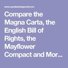 21 best civics images on pinterest history education american compare the magna carta the english bill of rights the mayflower compact and more ccuart Images