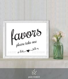 Favors Please Take One // Wedding Sign DIY // by JadeForestDesign