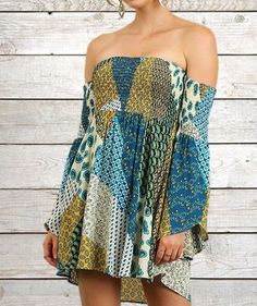UMGEE Blue Patchwork Tube Top Bell Sleeve Tunic Dress Gypsy Boho Bohemian Hippie #UMGEE #TunicDress #CASUALBOHO