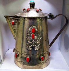 ANTIQUE NAVAJO SILVER TEA POT TURQUIOSE STONES & 2 CUPS : Lot 469