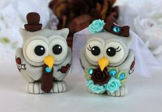 Tattoo wedding cake topper tattooed owl bride and by PerlillaPets