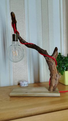 Rustic Driftwood home light.Industrial.Edison Led bulb.Red