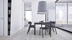 Modern Minimalist Dining Room Decor For Space Minimalist Dining Room, Minimalist Interior, Modern Minimalist, Futuristisches Design, Deco Design, Woven Dining Chairs, Traditional Dining Rooms, White Interior Design, Beautiful Dining Rooms