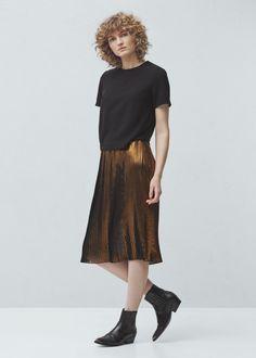 Metallic pleated skirt - Skirts for Woman   MANGO Lithuania
