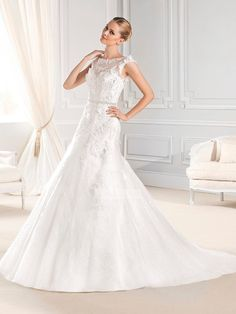 Unique Ball gown cap sleeves boat neck lace backless Wedding Dresses PWND0045