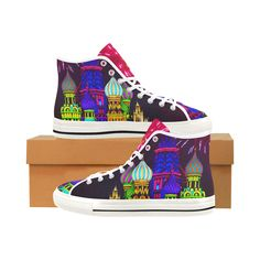 Sneakers, Baskets bright colours with Kremlin. Vancouver High Top Canvas Women's Shoes (Model1013-1)