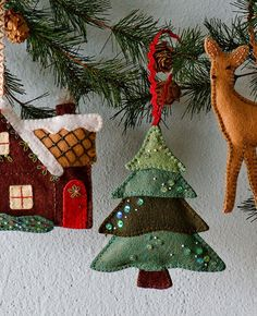 "Walk in the Woods Ornament Set Pattern, Cozy Cottage: 6"" x 5"" ; Snowy Tree: 5"" x 5"" ; Little Deer: 5"" x 6"",   $ 7.00"