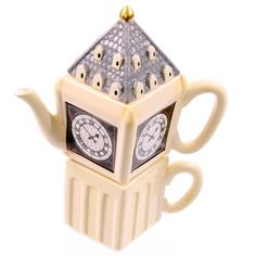Each Big Ben Cup Teapot Set is made from ceramics and has been finished in a high gloss glaze Each set contains a single cup and teapot with the Tea For One, Pottery Teapots, Tea Infuser, Tea Kettles, Tea Pot Set, Chocolate Coffee, Big Ben, Tea Time, Tea Cups