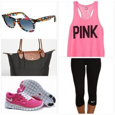 Work-out outfit. loose sunglasses and bag though...